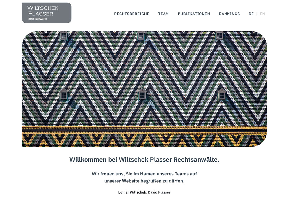 Wiltschek Plasser Rechtsanwaelte Website